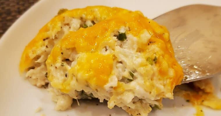 Keto Cheesy Baked Mashed Cauliflower