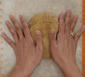 egg puff - flatten dough palms